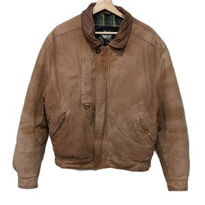 Vintage Mens Size 42 Leather Bomber Aviator Jacket